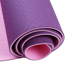 Double Colors TPE Yoga Mat Exercise Pad 6mm Thick Non-Slip Gym Fitness Mat Pilates Yoga Exercise Fitness Training Accessories