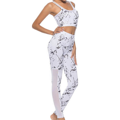Elastic Sports Suit Women Yoga Bra+Yoga Pants Fitness Yoga Set Printed Workout Gym Running Patchwork portswear Running Clothes