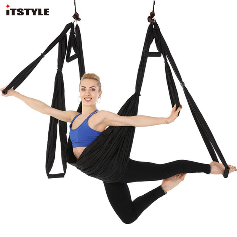 Yoga Hammock High Strength Parachute Fabric Inversion Therapy Anti-gravity Decompression Hammock Yoga Gym Hanging Swing Fitness & Body Building