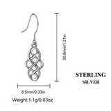 Long Celtic Knot Drop Earrings - Sterling Silver