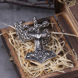 Mjölnir Pendant with Odin and Ravens - Stainless Steel