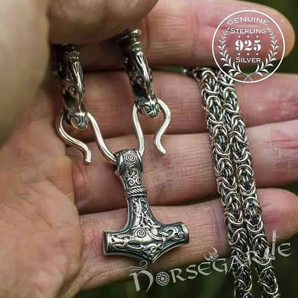 Handcrafted King's Chain with Mammen Mjölnir - Sterling Silver