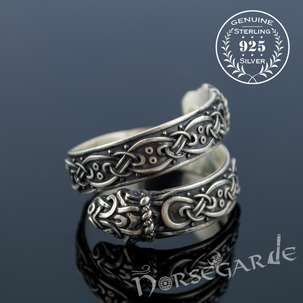 Handcrafted Ornamental Jormungandr Band - Sterling Silver