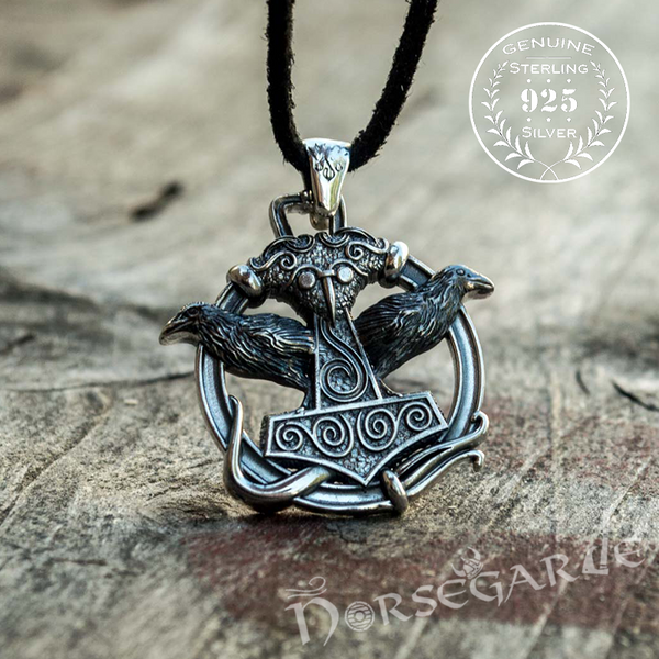 Handcrafted Perched Ravens Scania Mjölnir - Sterling Silver