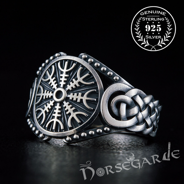 Handcrafted Helm of Awe Braid Ornament Ring - Sterling Silver