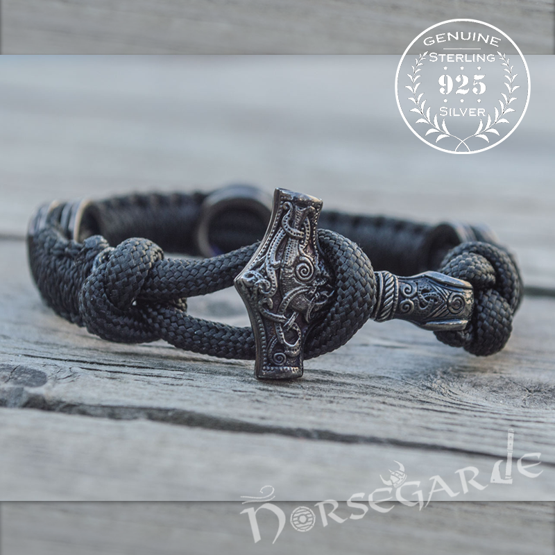 Handcrafted Ash Paracord Bracelet with Mjölnir and Runes - Ruthenium Plated Sterling Silver