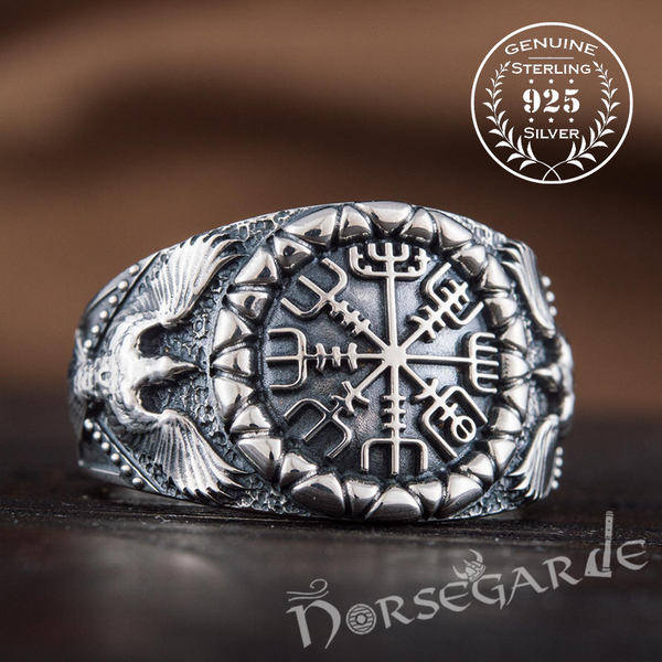 Handcrafted Ravens and Vegvisir Ring - Sterling Silver