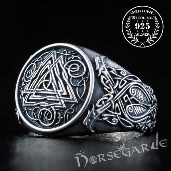 Handcrafted Valknut Viking Ornament Ring - Sterling Silver