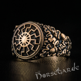 Handcrafted Kolowrat Oak Leaves Ring - Bronze
