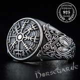 Handcrafted Vegvisir Viking Ornament Ring - Sterling Silver