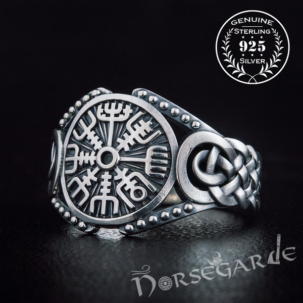 Handcrafted Vegvisir Braid Ornament Ring - Sterling Silver