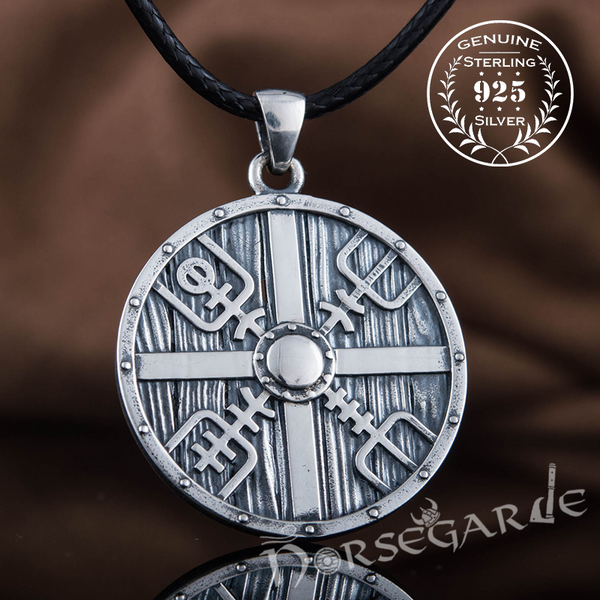 Handcrafted Vegvisir Shield Pendant - Sterling Silver