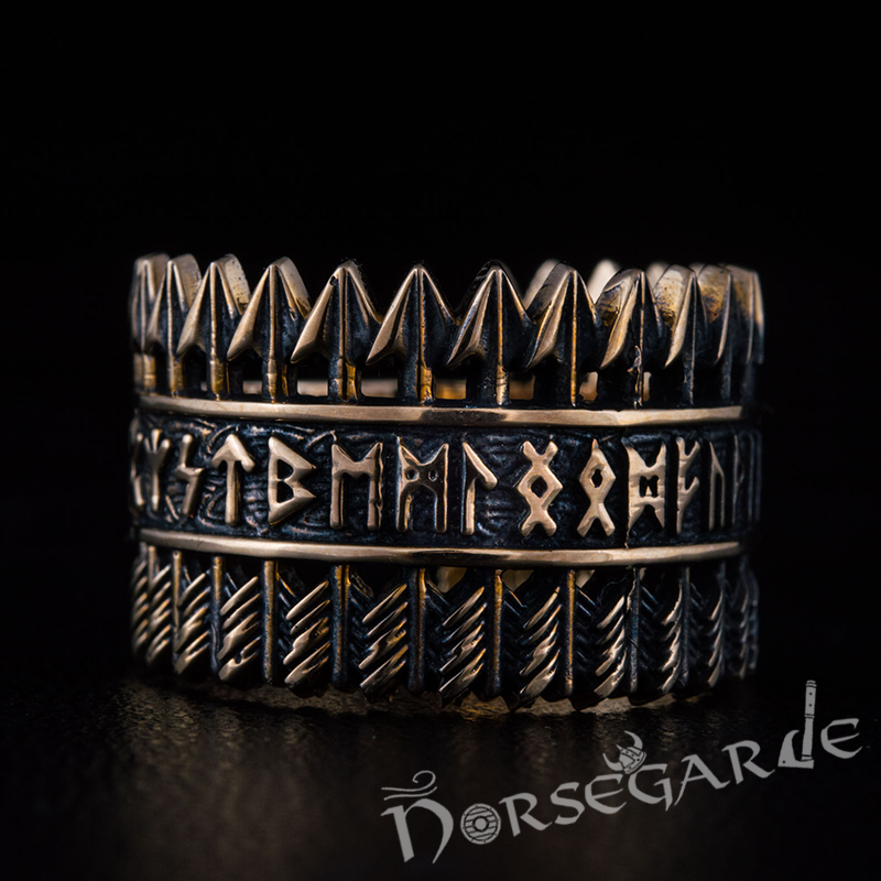 Handcrafted Piercing Arrows Runic Ring - Bronze