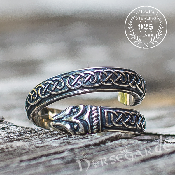 Handcrafted Celtic Jormungandr Band - Sterling Silver