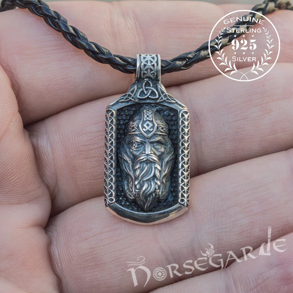 Handcrafted One-Eyed Odin Pendant - Sterling Silver