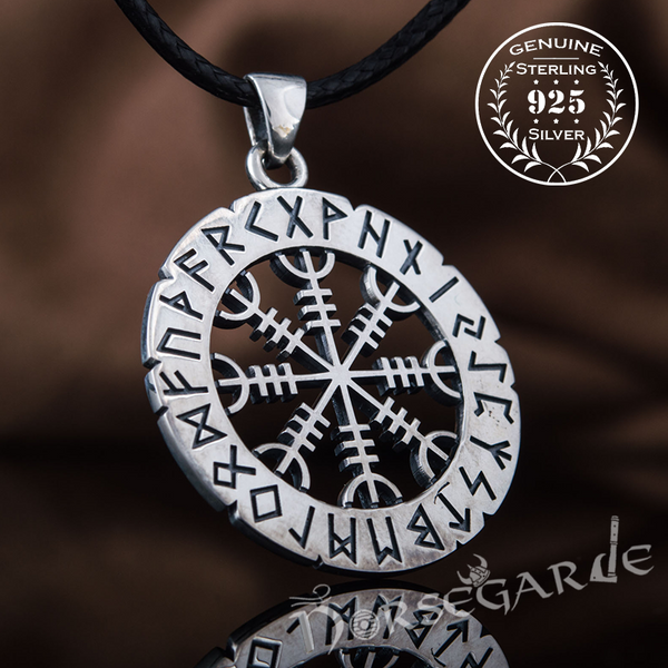 Handcrafted Runic Helm of Awe Amulet - Sterling Silver