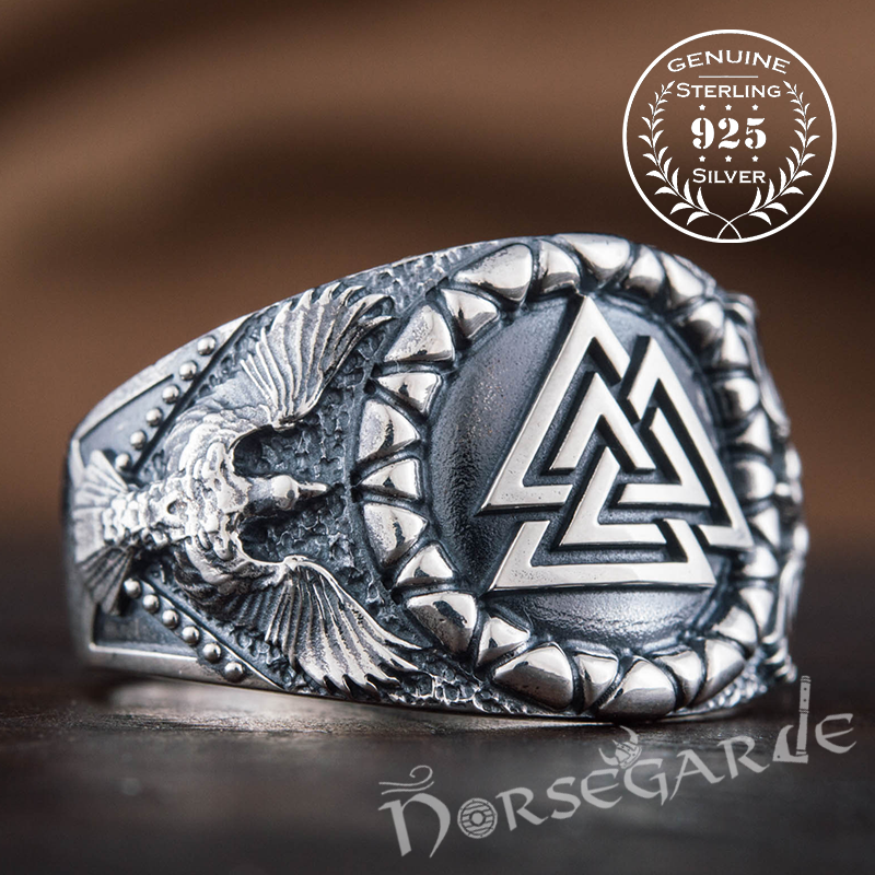 Handcrafted Ravens and Valknut Ring - Sterling Silver