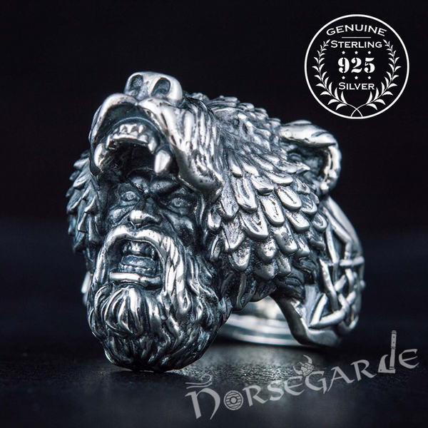 Handcrafted Bear Berserker Ring - Sterling Silver