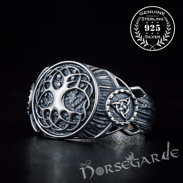 Handcrafted Yggdrasil Druid Signet Ring - Sterling Silver