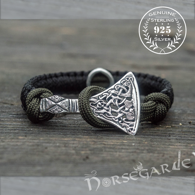 Handcrafted Black Paracord Bracelet with Axe Head and Rune - Sterling Silver