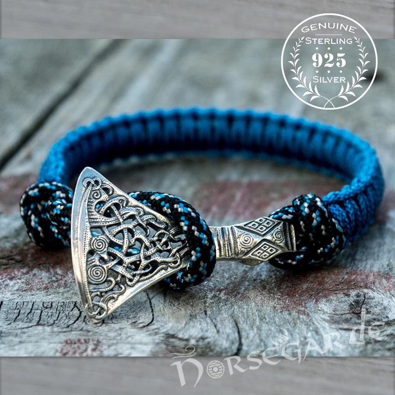 Handcrafted Ocean Paracord Bracelet with Axe Head - Sterling Silver