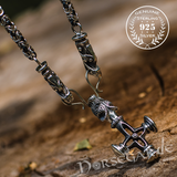 Handcrafted King's Chain with Wolf Celtic Cross - Sterling Silver