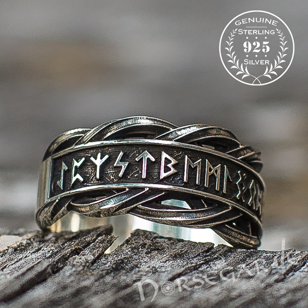 Handcrafted Twisted Runic Band - Sterling Silver