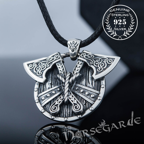 Handcrafted Axes and Shield Pendant - Sterling Silver