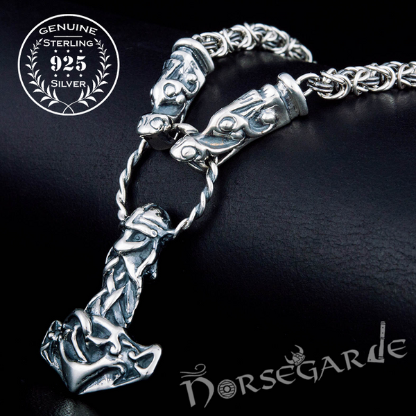 Handcrafted King's Chain with Mjölnir - Sterling Silver