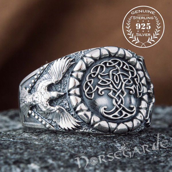 Handcrafted Ravens and Yggdrasil Ring - Sterling Silver