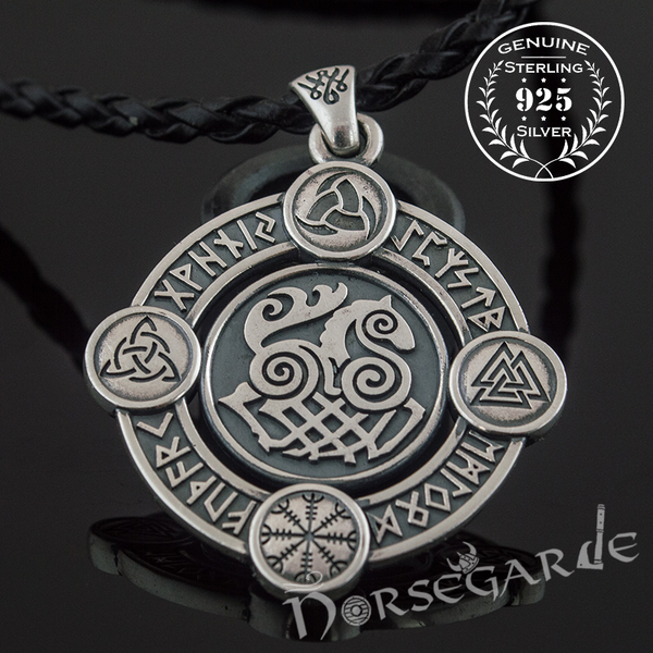 Handcrafted Rune Circle with Sleipnir - Sterling Silver