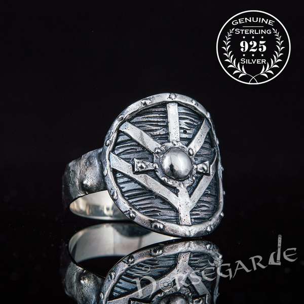 Handcrafted Shield Signet Ring - Sterling Silver