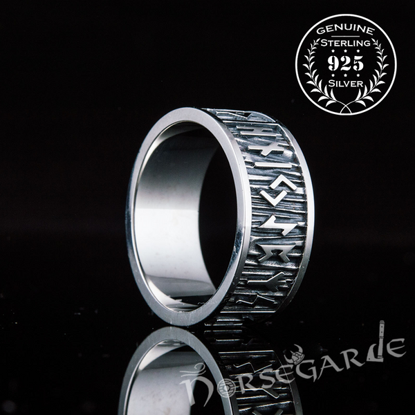 Handcrafted Elder Futhark Runic Band - Sterling Silver