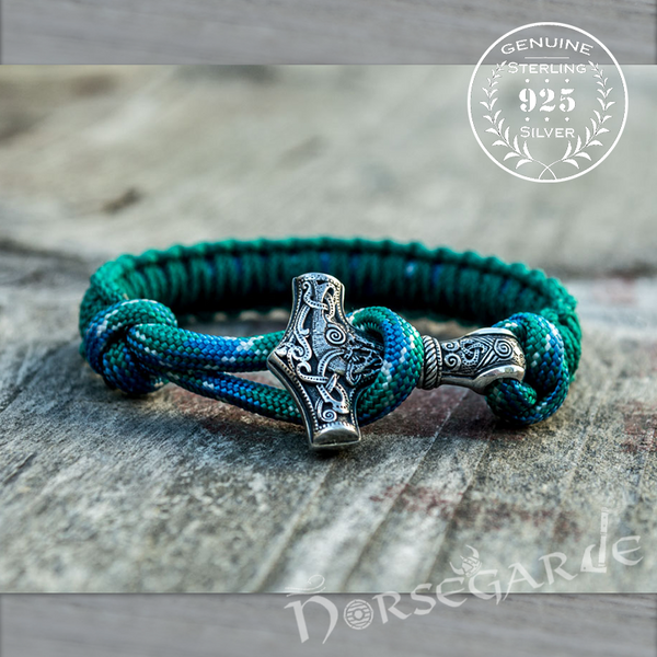 Handcrafted Malachite Paracord Bracelet with Mjölnir - Sterling Silver