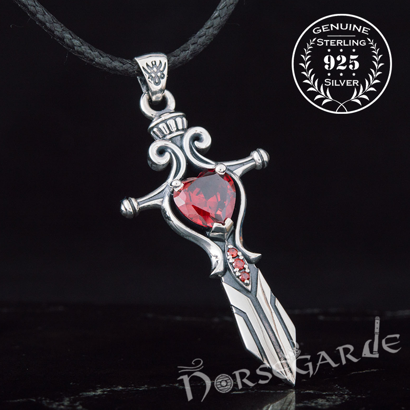 Handcrafted Red Stone Sword Pendant - Sterling Silver
