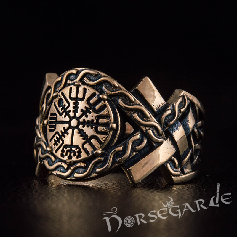Handcrafted Knot Ornament Vegvisir Band - Bronze
