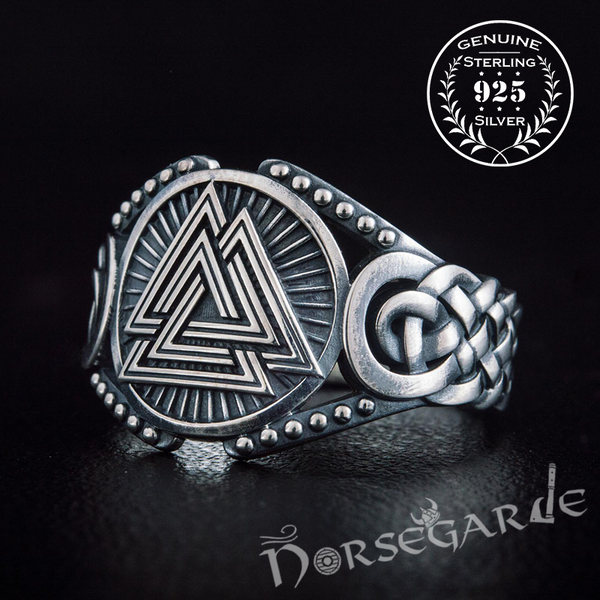 Handcrafted Valknut Braid Ornament Ring - Sterling Silver