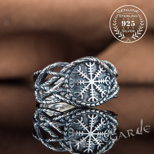 Handcrafted Brambles Helm of Awe Band - Sterling Silver
