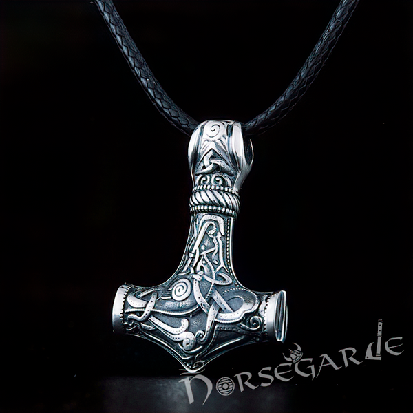 Handcrafted Mammen Engraved Small Mjölnir - Sterling Silver