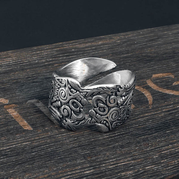 Geri and Freki Wolf Ring - Stainless Steel