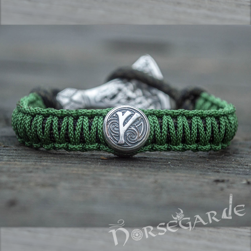Handcrafted Meadow Paracord Bracelet with Axe Head and Rune - Sterling Silver