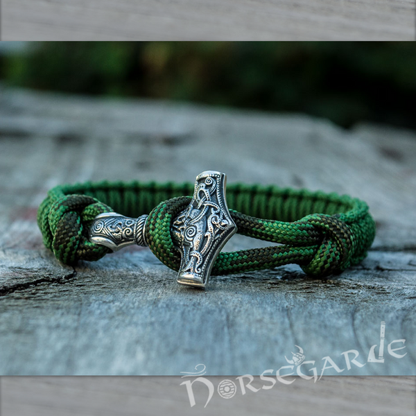 Handcrafted Forest Paracord Bracelet with Mjölnir - Sterling Silver