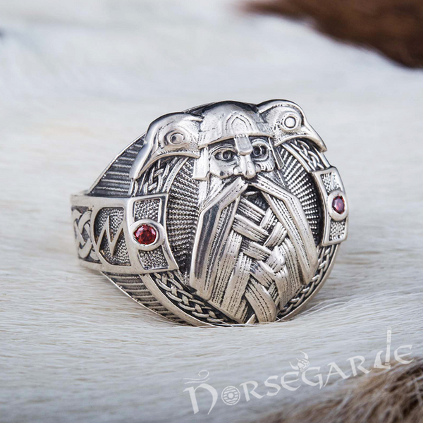 Handcrafted Odin and Ravens Ring - Sterling Silver