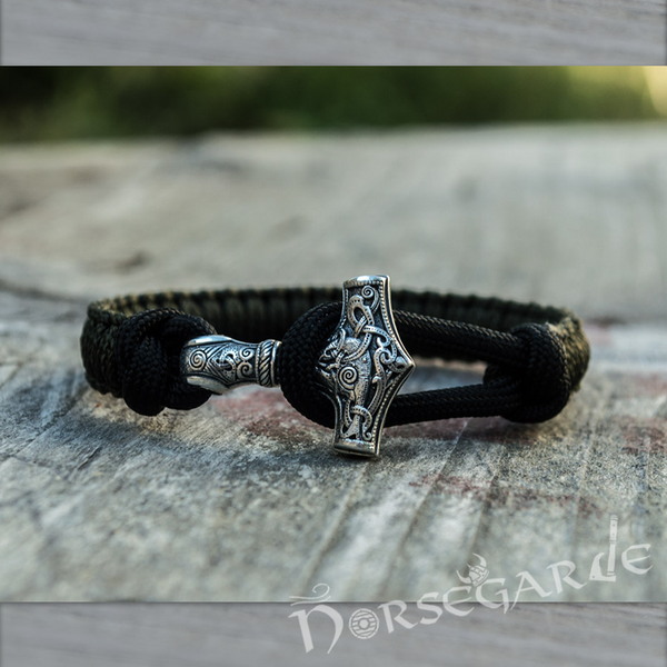 Handcrafted Dark Olive Paracord Bracelet with Mjölnir - Sterling Silver