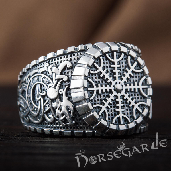 Handcrafted Helm of Awe Viking Ornament Signet Ring - Sterling Silver