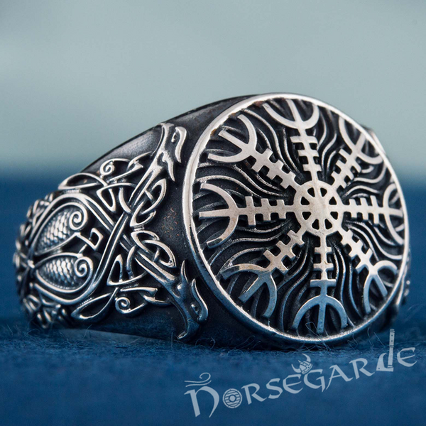 Handcrafted Helm of Awe Viking Ornament Ring - Sterling Silver