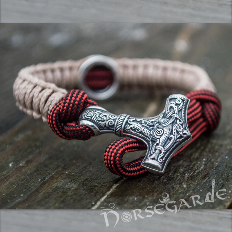 Handcrafted Cream Paracord Bracelet with Mjölnir and Rune - Sterling Silver