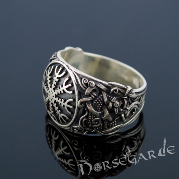 Handcrafted Helm of Awe Mammen Style Ring - Sterling Silver