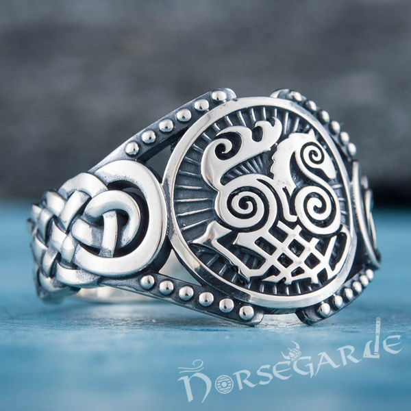 Handcrafted Sleipnir Braid Ornament Ring - Sterling Silver