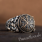 Handcrafted Vegvisir Rune Oak Leaves Ring - Bronze